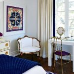 Bedroom, Wooden Floor, White Wall, White Table With Golden Chair Wih Purple Cushion, White Chair With Golden Line, White Side Table, Purple Patterned Rug