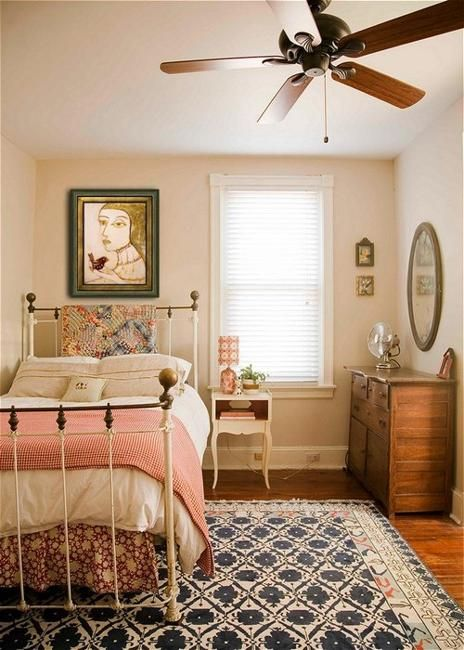 bedroom, wooden floor, white wall, wooden cabinet, white bed platform, white side table, ceiling fan