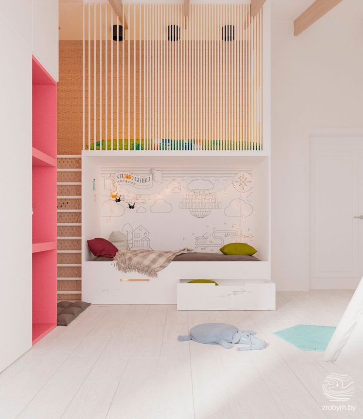 bedroom, wooden floor, white wall, wooden wall, white fence, colorful cushion on top, white bed platform with drawers, pink shelves