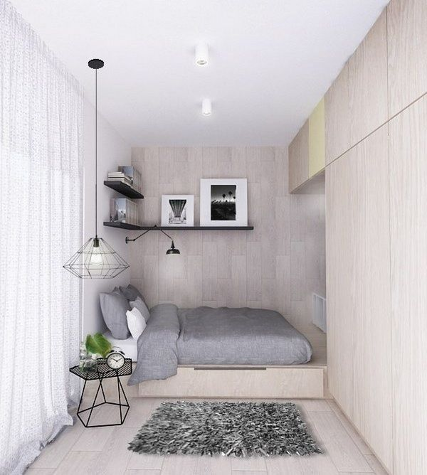 bedroom, wooden floor, wooden wall, wooden bed platformwith drawers, floating shelves, black side table, pendant