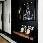 Black Entrance, Black Wall, Black Bench, Brown Leather Cushion, White Cabinet