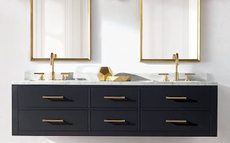 black floating cabinet, golden handler, golden faucet, white marble top, golden lined mirror, white wall, sconces