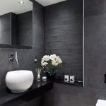 Black Vanity, Black Floating Vanity, Black Wall, Mirror, White Bowl Sink, White Toilet, White Floor