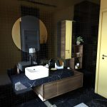 Black Vanity, Black Marble Floor, Black Marble Vanity, Wooden Cabinet, Roun Mirror, Wooden Floating Shelves, White Sink