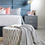 Blue Velvet Headboard, Sconces, Blue Side Cabinet, White Round Ottoman, White Floor Rug