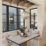 Breakfast Nook, Wooden Floor, White Bench, Window, Wooden Rectangular, Geometrical Pendant