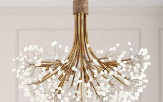 chandelier, golden lines, white details on the tip