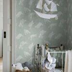 Child Bedroom, Wooden Floor, Blue Wallpaper, White Ironed Crib, White Paper Boat