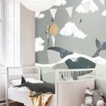 Child Bedroom, Wooden Floor, White Wall, Grey Wallpaper With Whale, White Round Crib, White Paper Pendant