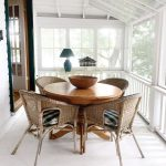 Dining Room, White Floor, White Shiplank Wall, White Wooden Fence, Rattan Chairs, Wooden Round Table