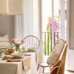 Dining Room, White Tablecloth, Wooden Chairs, Brown Floor, White Curtain