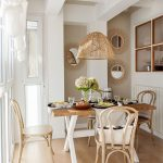Dining Room, Wooden Floor, Cream Wall, Wooden Table, Wooden Chairs, Rattan Pendant
