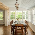 Dining Room, Wooden Floor, Wooden Dining Set, White Wooden Ceiling White Wooden Wall, Stone Accent