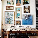 Dining Room, Wooden Table, Copper Iron Chairs, White Wall, Pictures