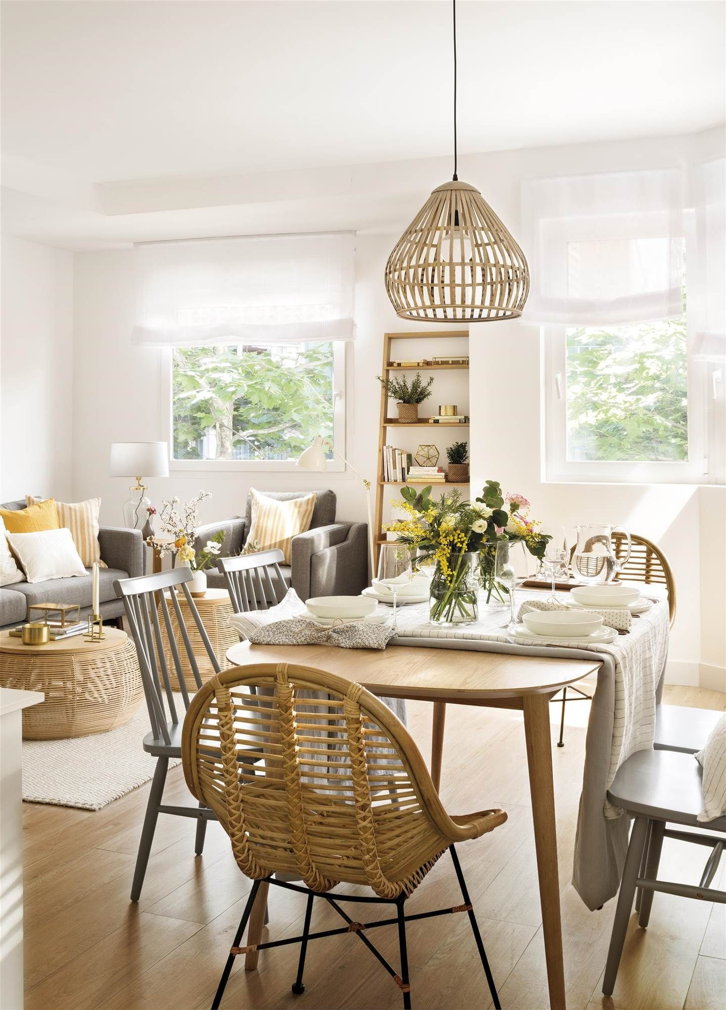 dining set, wooden floor, wooden table, rattan chair, gey wooden chairs, rattan pendants