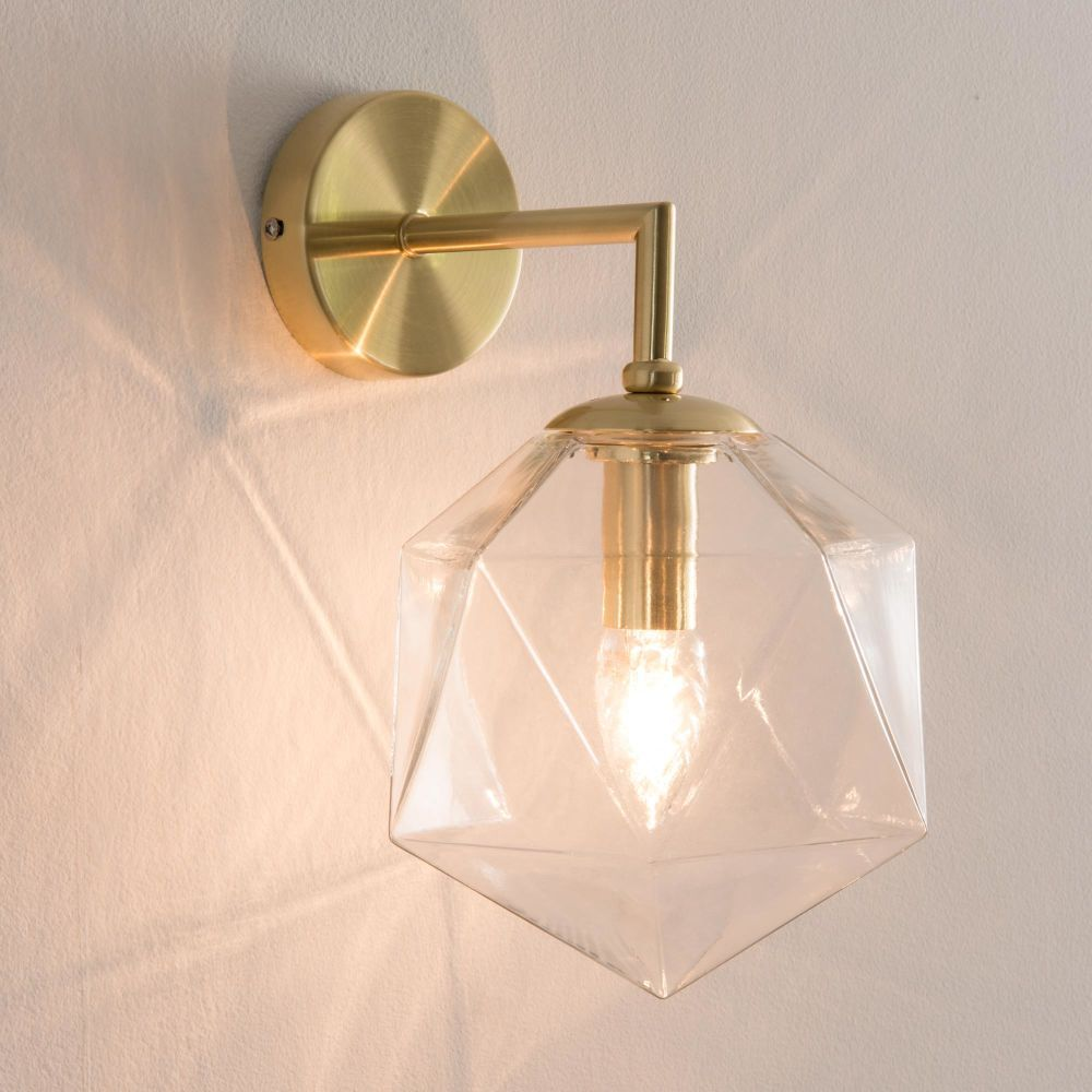 glass sconce with golden lines