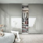 Gloss White Wardrobe, Shelves, Grey Round Ottoman