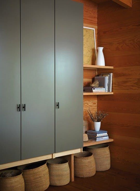 grey cabinet, wooden wall, wooden floating shelves, wooden floor