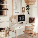 Home Office, Wooden Floor, Brown Rug, White Wooden Modern Table, Wooden Chair, White Shelves With Drawers, Rattan Pendant