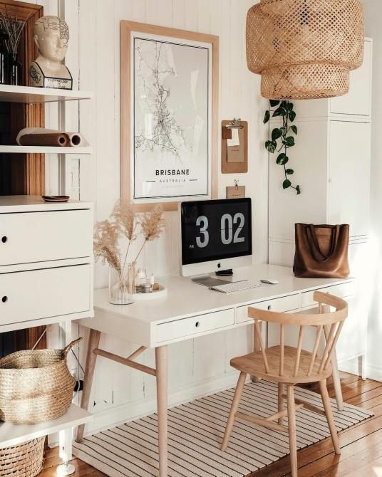 home office, wooden floor, rattan pendant, wite wooden wall, white table, wooden chair, white shelves, white cabinet