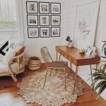 Home Office, Wooden Floor, Wooden Study Table With Drawers, Golden Ironed Chair, White Shilank Wall, Rattan Sofa