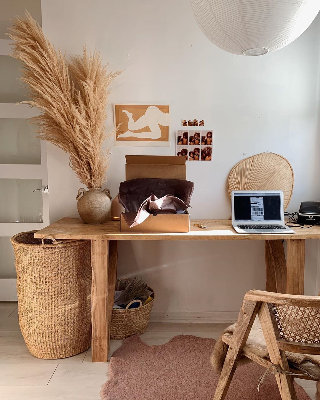 home office, wooden study table, brown floor tiles, wooden chair, rattan basket, white pendant