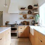 Kichen, Wooden Floor, Wooden Cabinet, White Top, Wooden Cornered Shelves, White Hood