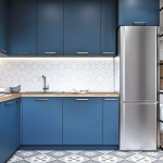 Kitchen, Blue Cabinet, White Backsplash, Patterned Floor, Silver, Wooden Counter Top