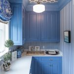 Kitchen, Blue White Striped, Blue Cabinet, White Counter Top, Blue Patterned Curtain, White Ceiling Lamp