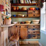 Kitchen, Brown Floor Tiles, Wooden Cabinet, Wooden Sheles, Green Wall