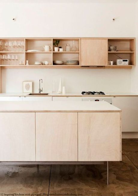 kitchen, brown marble floor, light wooden cabinet, white backsplash, wooden shelves