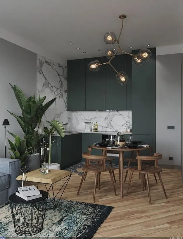 kitchen, dark green cabinet, white marble wall, white marble backsplash, wooden floor, wooden dining set