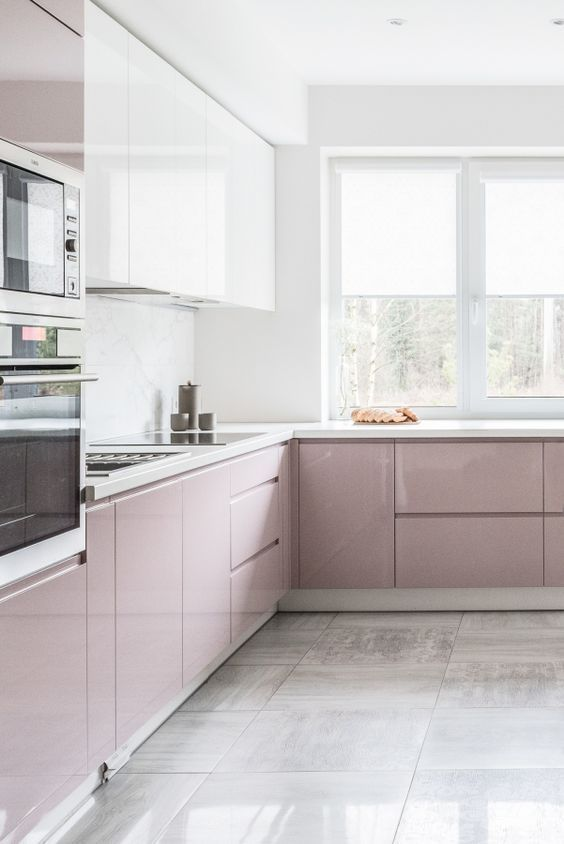 kitchen, grey floor, gloss pink cabinet, gloss white cabinet, white marble backsplash, white counter top