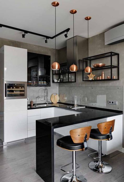 kitchen, grey floor, grey wall, black floating shelves, white cabinet, black counter top, black island, copper pendant, wooden stools