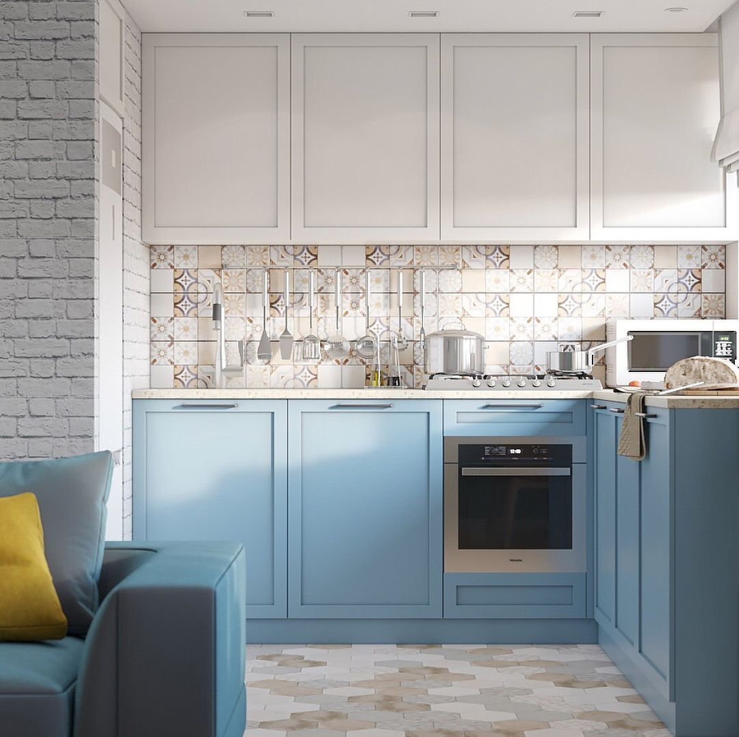kitchen, patterned backsplash, white cabinet, blue cabinet, hexagonal floor tiles