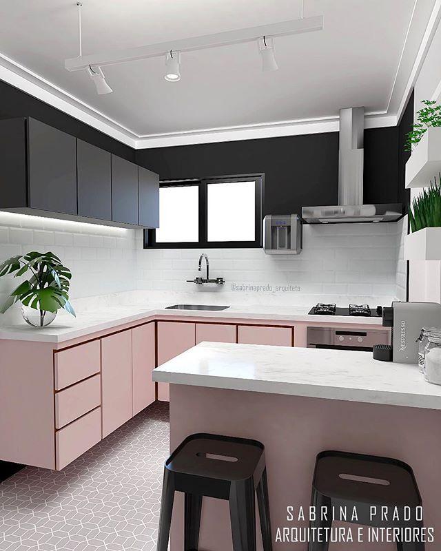 kitchen, patterned floor, white subway backsplash, pink floating bottom cabinet, white marble counter top, black top cabinet