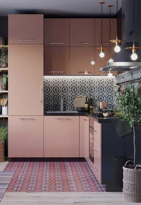 kitchen, pink patterned floor, blue patterned backsplash, pink cabinet, black counter top