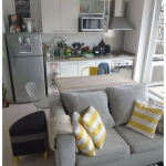 Kitchen, White Cabinet, Grey Fredge, Wooden Table, Chair, Grey Sofa
