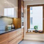 Kitchen, White Floor, Wooden Cabinet, Gloss White Top Cabinet, Black Top, Wooden Window Sill