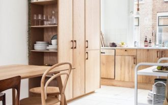kitchen, white floor, wooden floor, white wall, wooden cupboard, woode cabinet, white backsplash