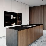 Kitchen, White Marble Floor, White Kitchen Cabinet, Wooden Black Island With Black Marble Counter Top