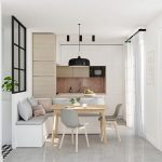 Kitchen, White Marble Floor, White Wall, White Kitchen Cabinet, Brown Marble Backsplash, White Bench With Grey Cushion, Grey Modern Chair, Wooden Table