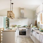 Kitchen, White Patterned Floor, White Subway Backsplash, White Cabinet, Wooden Counter Top