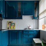 Kitchen, White Subway Bcksplash, Patterned Floor, Blue Kitchen Cabinet, Blue Chest,