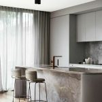 Kitchen, Wooden Floor, Grey Cabinet, Brown Grey Marble Island And Backsplash, Brown Stools
