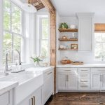 Kitchen, Wooden Floor, White Cabinet, White Marble Counter Top, Wooden Framed Indented Window Bay, Open Shelves, Large Windows