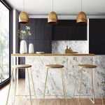 Kitchen, Wooden Floor, White Marble Island, Wooden Island Top, Golden Pendants, Black Cabinet, Wooden Stools With Golden Lines