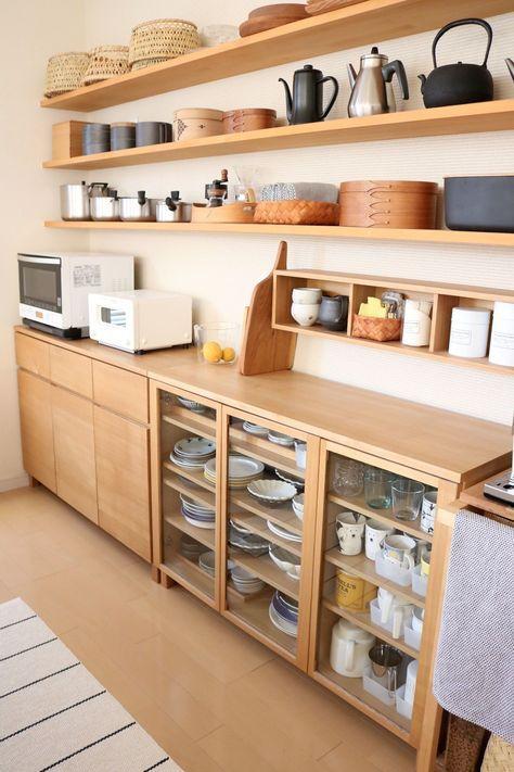 kitchen, wooden floor, white wall, wooden kitchen cabinet, wooden open shelves