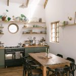Kitchen, Wooden Floor, White Wall, Wooden Table, Black Wooden Chairs, Green Wooden Cabinet, Wooden Floating Shelves