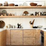 Kitchen, Wooden Floor, Wooden Kitchen Cabinet, White Wooden Wall, Wooden Open Shelves, White Wooden Vaulted Ceiling